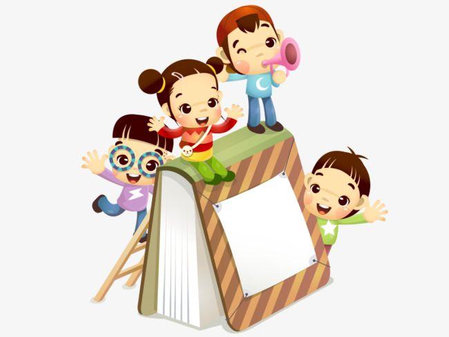 أطفال يلعبون على الكتاب Cartoon Books Cartoon Kids Cartoon Boy