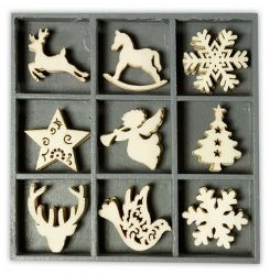 Wooden Laser Cut Ornaments - Case of 45, Christmas Various III