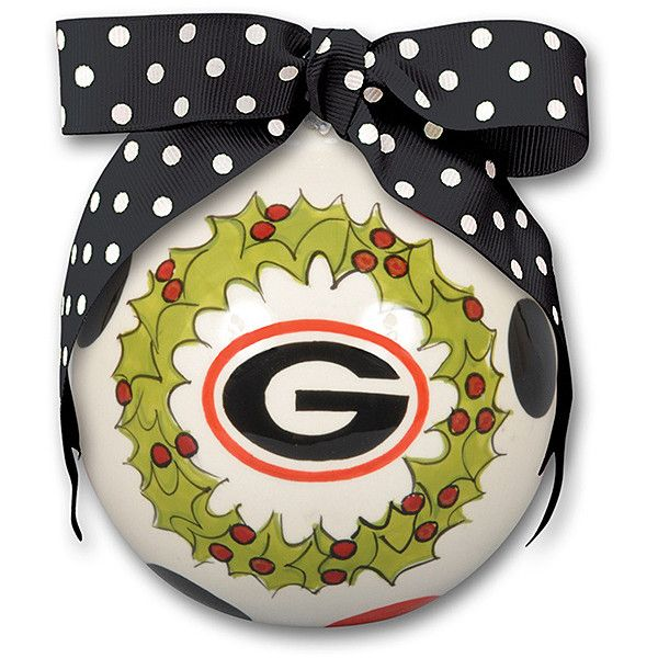 Magnolia Lane Georgia Bulldogs 'Deck the Halls' Holiday Ornament (€11) ❤ liked on Polyvore featuring home, home decor, holiday decorations, ceramic home decor, holiday decor, round ornaments and ceramic ornaments