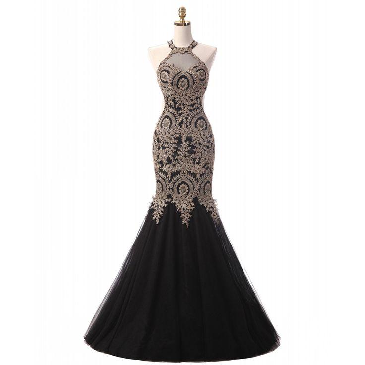Echt Bild Charming Gold Appliques Schwarz Abendkleid Halter Tulle Nixe-abschlussball robe de soiree Hochzeit Kleid ED18 //Price: $US $152.06 & FREE Shipping //     #abendkleider