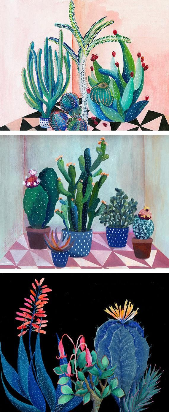 Calling all cactus fans! If sustaining even a succulent is beyond your ability, you can always hang a print of one of artandpeople artist Laura Garcia Serventi's potted-plant compositions. #etsy