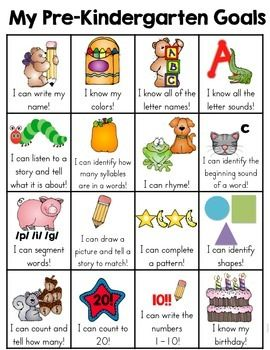 This pre-kindergarten skill goal sheet is a one page sheet of typical skills that a student may learn. It is a fun and very visual way for the kids to see what skills they have mastered and document the child's learning. When a skill has been mastered, the child can put a sticker in the box.