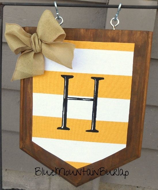 Yellow Stripe Wood Garden Flag With Initial By BlueMountainBurlap, Summer Garden  Flag, Beach Garden
