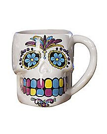 White Sugar Skull Mug - Brew up something tasty this Halloween or use this vibrant cup as your favorite candy holder.