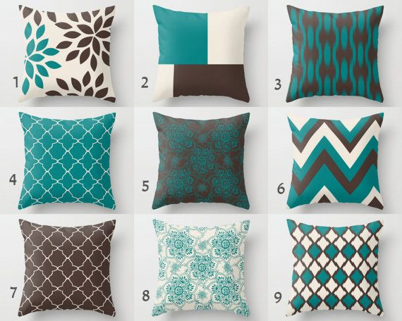 Teal Brown Pillows Pillow Covers Teal Chocolate by HLBhomedesigns