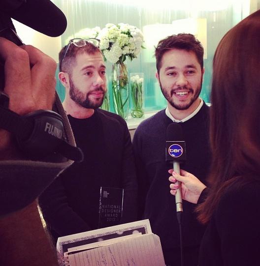 Alex and Tim @frombritten - time for interviews with @channelten #lmffnow #nationaldesigneraward