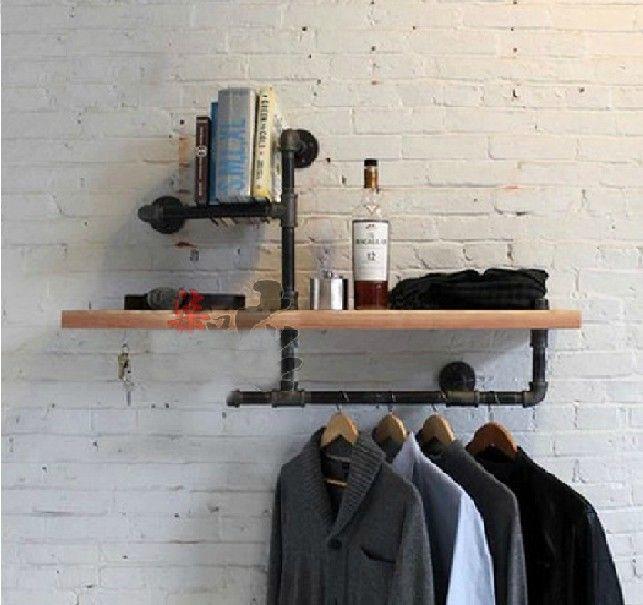 ウッド サイズ 45*15 センチ古着表示衣料品店の棚ハンガー産業鍛造アイアン服ラック パイプ棚- z3(China (Mainland))