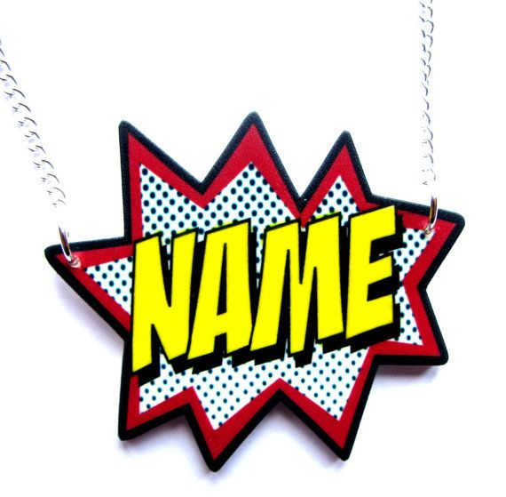 Custom Comic Name Necklace by Dolly Cool Personalized by DollyCool