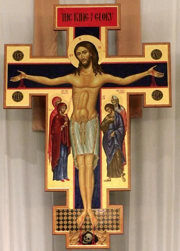 This crucifix caused quite a controversy.  It is a San Damiano crucifix and hangs in St. Charles Borromeo Catholic Church.