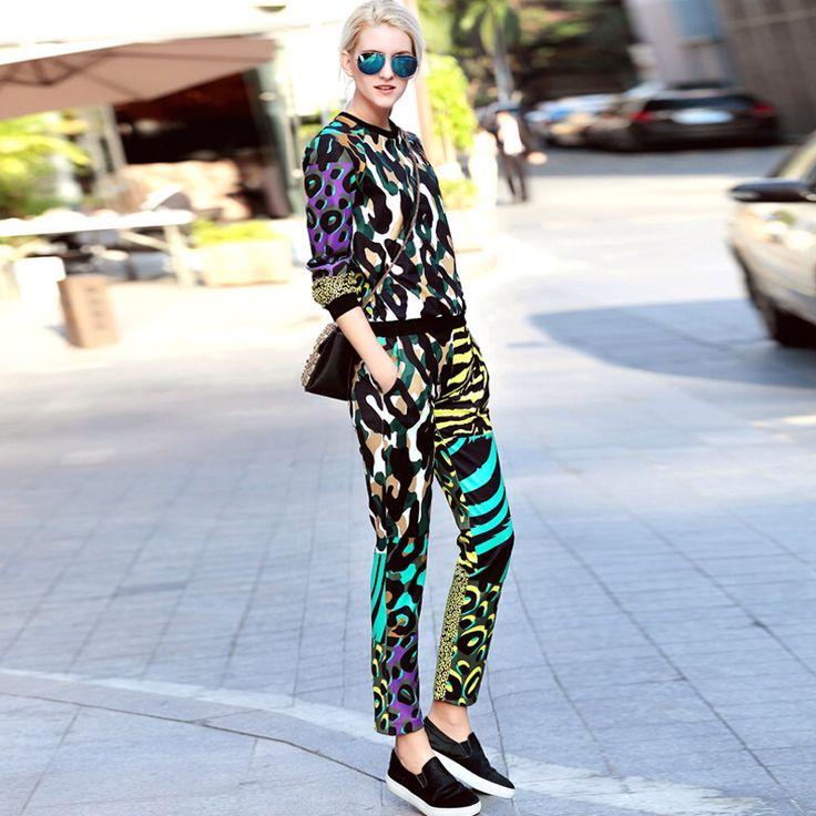 2016 весной новый взлетно-посадочной полосы брючный костюм высокого качества для женщин леопарда печатных брюки набор D289