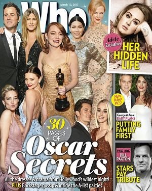 @whomagazine #magazines #covers #march #2017 #celebrity #news #royals #Oscars #Adele #GeorgeClooney #AmalClooney #BillPaxton