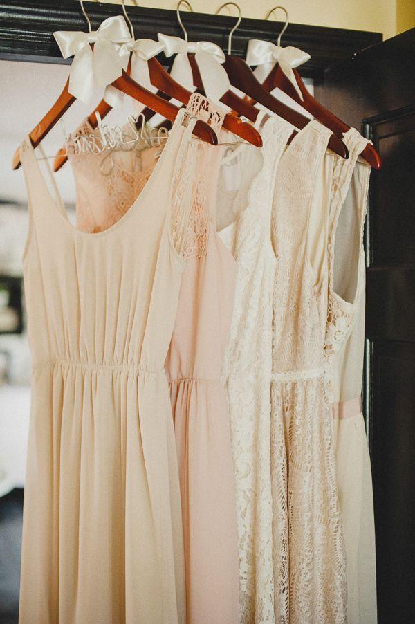 cream bridesmaid dresses #monochromatic #wedding http://www.weddingchicks.com/2013/11/20/vintage-wedding-2/