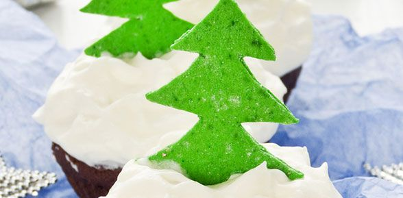 Amaretto Chocolate Muffins with Christmas Tree decorations