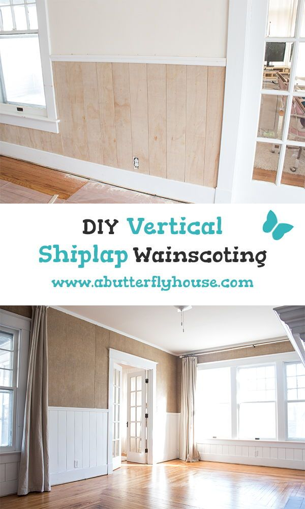 Diy Shiplap Half Wall A Butterfly House Diy Shiplap Shiplap Bathroom Design Concepts #vertical #shiplap #living #room