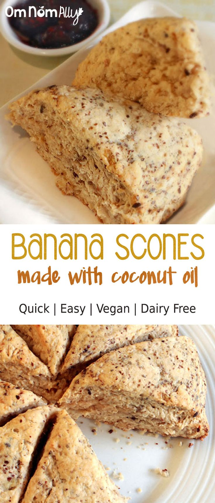 Quick & Easy Vegan Banana Scones @OmNomAlly   Made with coconut oil and coconut sugar, these Vegan Banana Scones are flaky and cakey for the most delicious brunch ever.