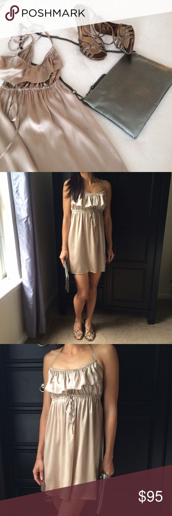 """💐Marciano Silk Dress Baby doll dress ties around neck, ruffle front 95% silk 5% spandex 32"""" long as shown on me and I'm 5'6"""" FLAW: see last pic and price is negotiable 😊 oh and all items for sale on covershot Dresses"""