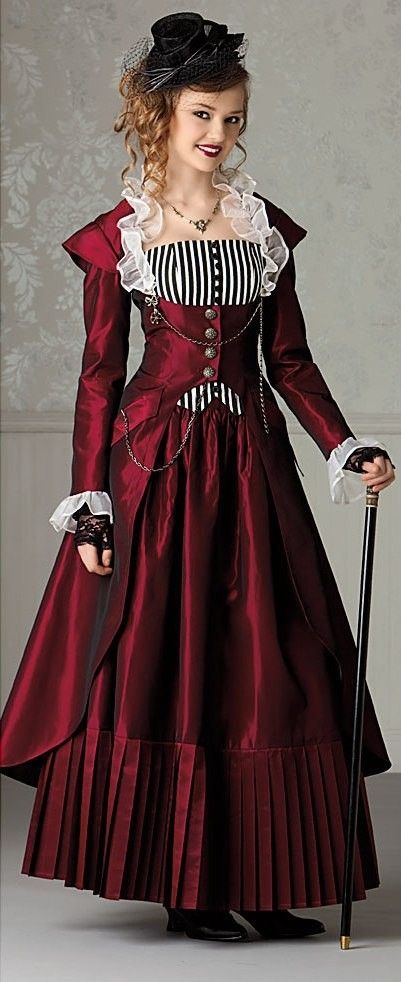 Lovely and feminine the ladies of history past dressed!    #red steampunk dress w/ pinstripe accent. by concepcion