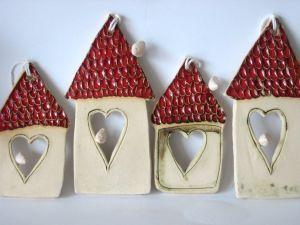 domek ceramiczny - keramický domeček se srdíčkem