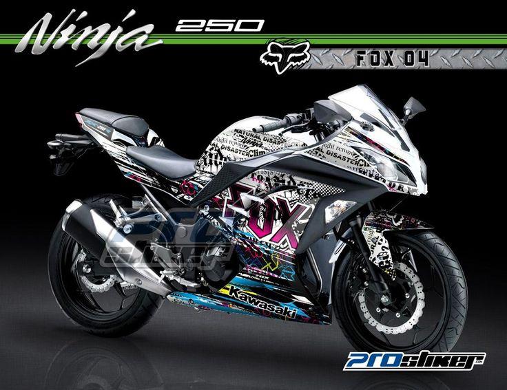 Stiker Motor Ninja 250 Injeksi Printing dan Cutting Warna Putih Desain Grafis FOX 04 Grafity Look Full Body