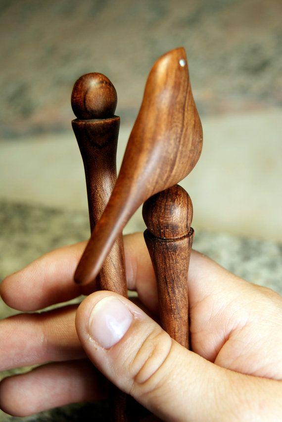 Wood Hair Stick Hairfork Bird Sculpture Hairpin by FreeInTree