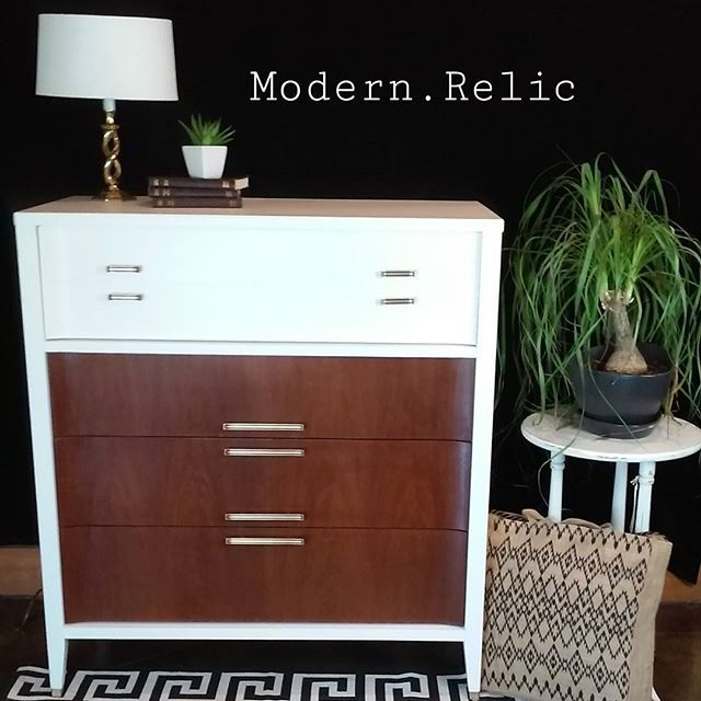 Painted Two Toned Mid Century Modern Tallboy Dresser By Kroehler.  Refinished By Modern Relic