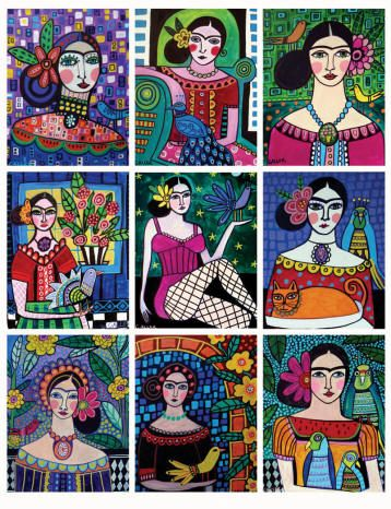 ACEO PRINT SET Frida Kahlo Mexican Folk Art Paintings