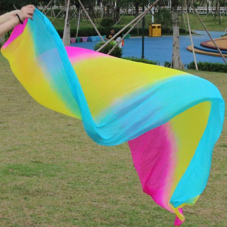 New design 100% real silk belly dance veil cheap dance veils,tari perut kostum veil wholesale 250 270*114 Rose+yellow+Turquoise