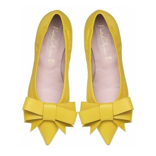 WOMEN ($140) ❤ liked on Polyvore featuring shoes, flats, heels, yellow, yellow flat shoes, ballet shoes, yellow shoes, yellow heel shoes and ballerina pumps