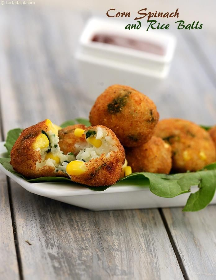 Corn, Spinach and Rice Balls (  Fun Food For Children)
