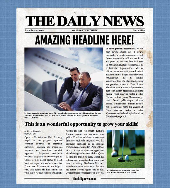 4 Page Microsoft Word Template Newspaper Template Word Template