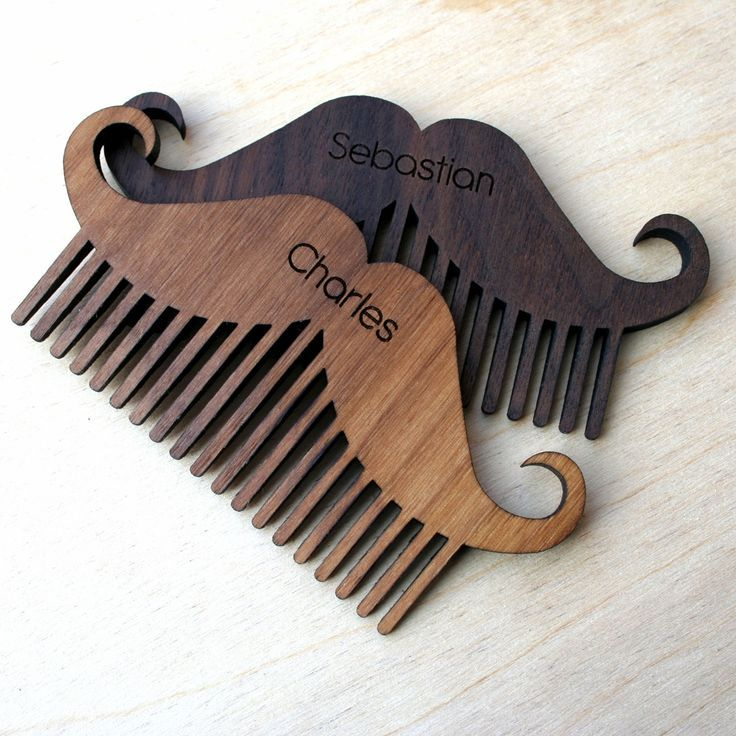 Personalised wooden beard and moustache comb