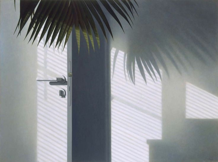 """Painting by RONALD BOWEN """"Morning sunlight on my palm tree and bathroom door, open against the wall, in my studio-apartment."""""""