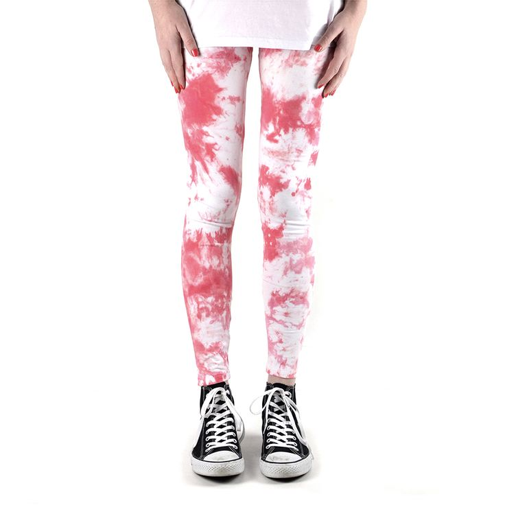 """The """"Rose Parade"""" cotton leggings are hand dyed with strawberry pink and rose red.Made in Melbourne from a thick 95% cotton 5% spandex fabric, they have an elastic waist and are ankle length."""