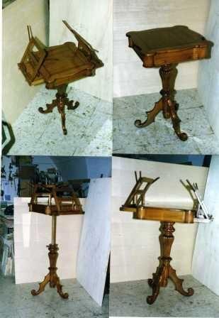 Tavolinetto leggio da canto in massello di ciliegio,piede centrale tornito e intagliato,piano regolabile in altezza due cassettini portaspartito