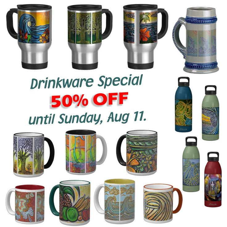 Weekend Half-Price Special on Drinkware |  Grab this bargain – Phil's MUGS and DRINKWARE at Half-price! |  50% off ALL DRINKWARE - ends Sunday/Monday (depending where in the world you are!) |  GO HERE and Enter code BTSMUGCANPOS at checkout.