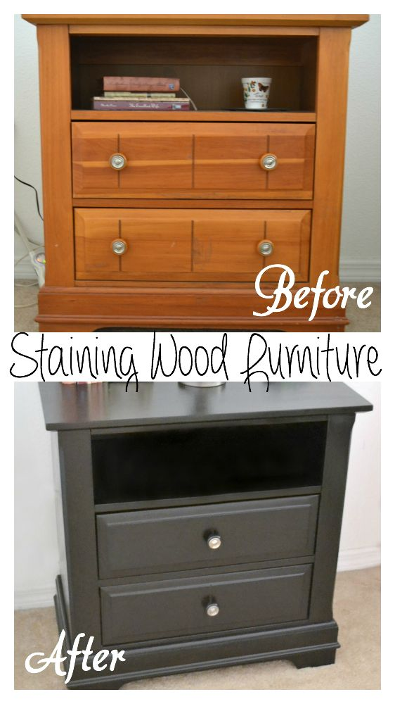 How I updated my bedroom furniture for $40. How to stain wood black.