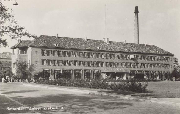 Het Zuiderziekenhuis gezien vanaf de Groene Hilledijk, 1960.