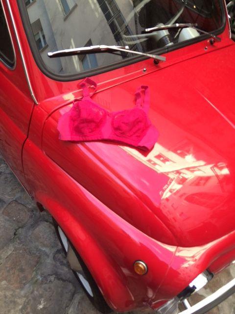 #pink #doreen #merci #red #fiat #car #bra #triumph