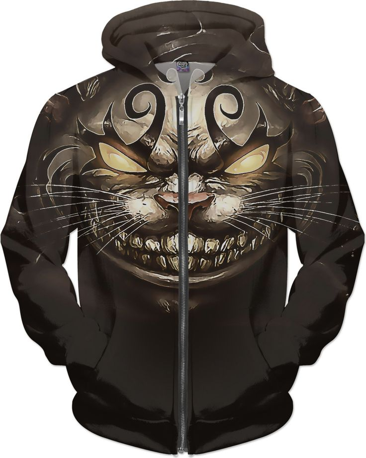 Cheshire cat, American McGees Alice in Wonderland all-over-print cartoon design, unisex hoodie - for more art and design be sure to visit www.casemiroarts.com, item printed by RageOn at www.rageon.com/a/users/casemiroarts - also available at www.casemiroarts.com - This product is hand made and made on-demand. Expect delivery (aproximate time frames) to US in 11-23 business days (international 14-33 business days). #hoodies #clothing #style #fashion