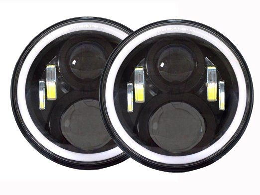 Pair 7 Inch Round LED Headlights lamp Halo Angle Eyes + Signal For Wrangler JK LJ TJ Black Chrome 12V 24V headlight