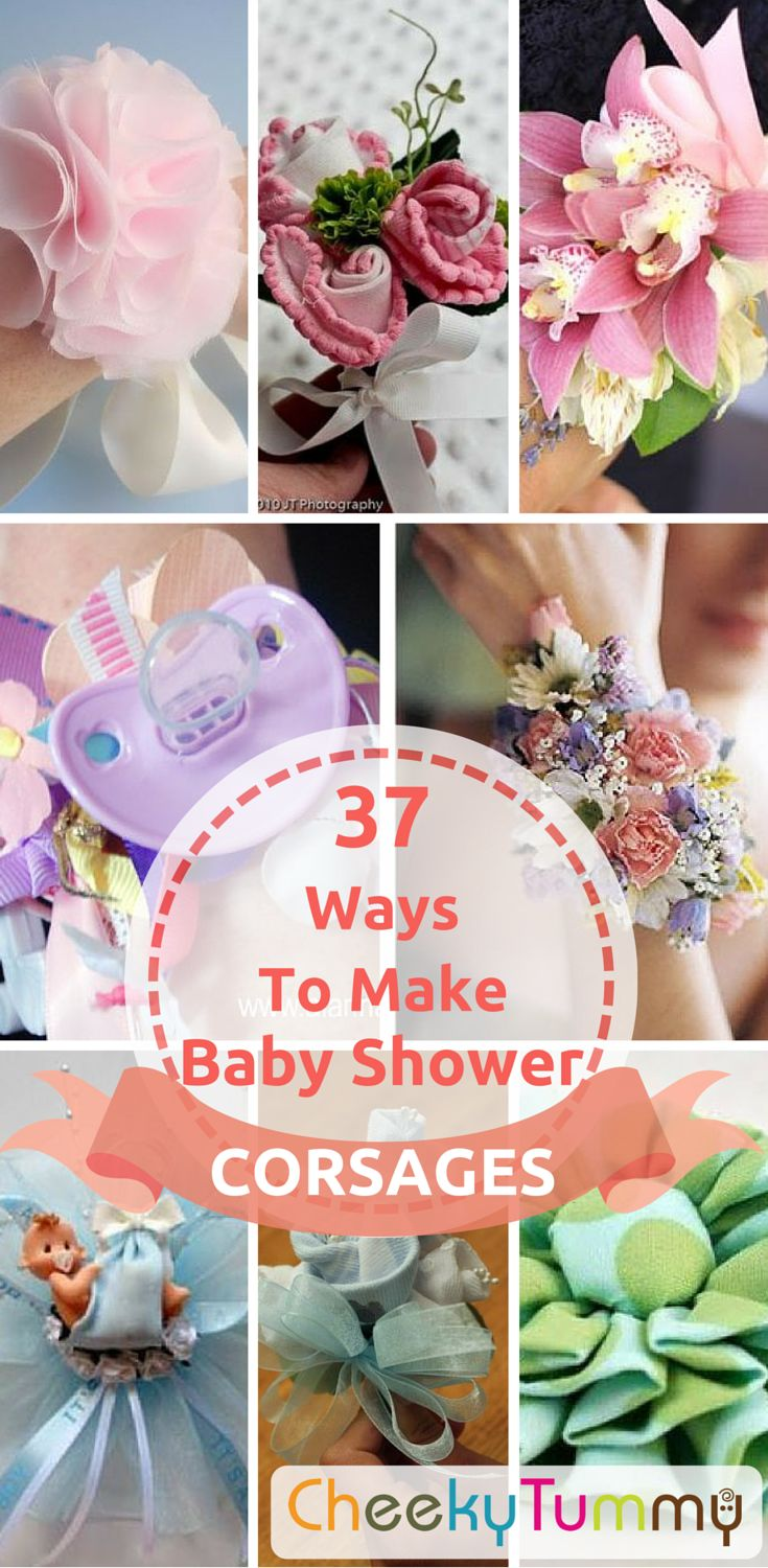 Be creative and make your own corsages! Check out our 37 Easy Ways to Make Inspiring Baby Shower Corsages and be sure to impress everyone! ;)