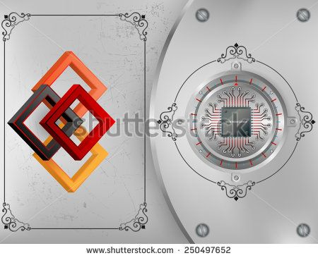 Abstract technology background; Tree dimensions squares on scratched metallic background and processor chip on circular metallic device nailed with screws to steel board.