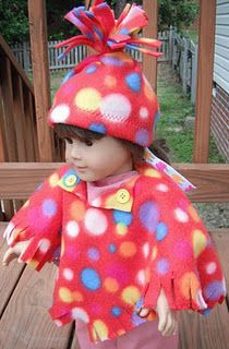 """18"""" doll fleece hat and poncho pattern."""