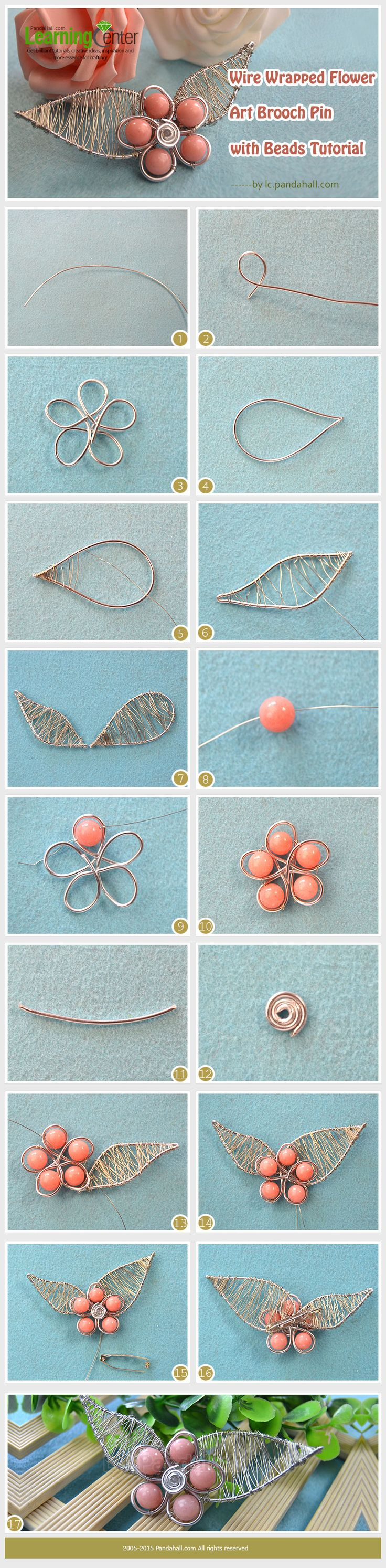 Wire Wrapped Flower Art Brooch Pin