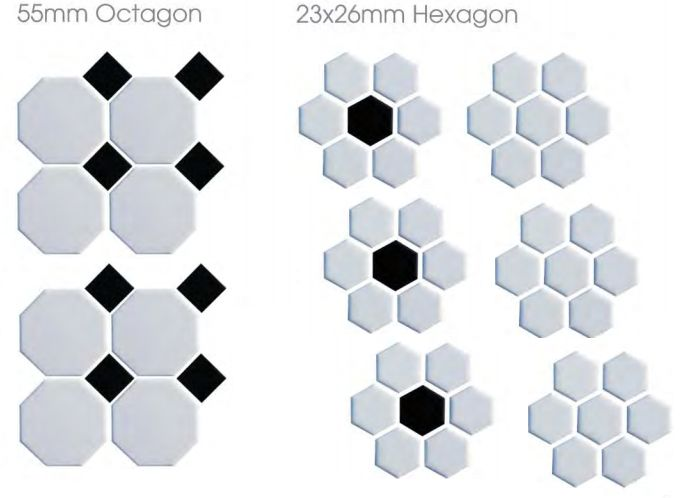 Shapes: The Shapes range has been a part of the Waxman Ceramics mosaic family for quite some time and has proved ever popular for a multitude of purposes. Available in a 23 x 26mm mosaic, in a mixture of black and white and white all over, as well as a black and white octagon/square combo, the possibilities are endless for anyone who is going for a monochrome design. http://www.waxmanceramics.co.uk/blog/news/shape-up-with-hexagon-tiles/