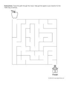 100th Day of School maze worksheet with an apple and a school house. 4 levels of difficulty. Maze changes each time you visit