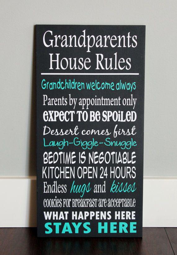 CUSTOM wood sign, GRANDPARENTS HOUSE Rules ETSY