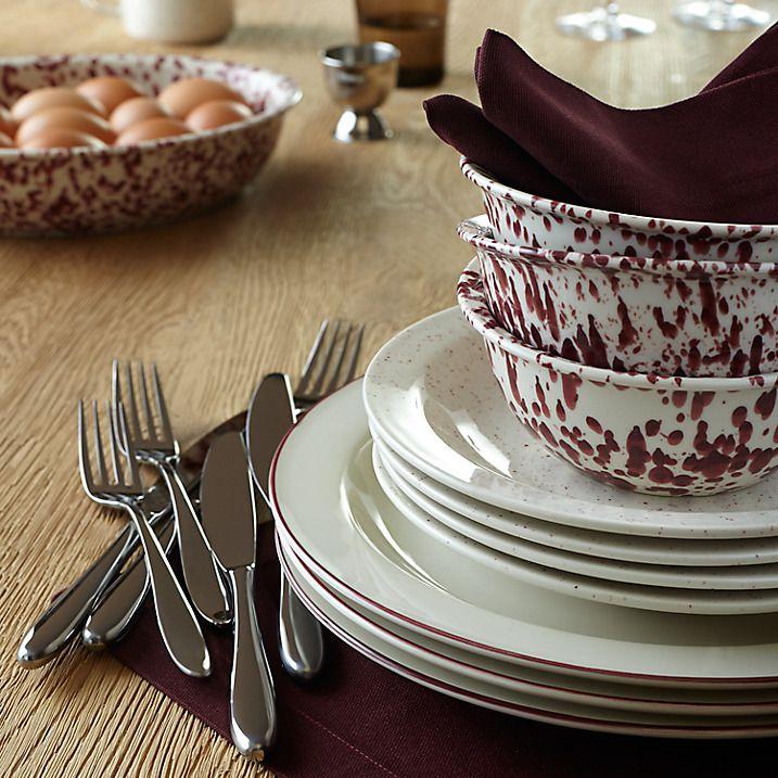 Buy John Lewis Canteen Splash Serve Bowl, Cream/Burgundy Online at johnlewis.com