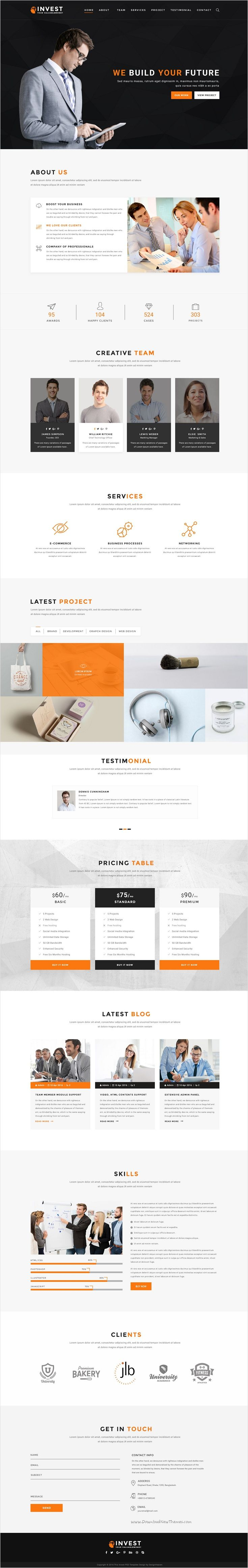 Invest is a unique, modern multipurpose 3 in 1 #PSD #template for any kind of business, #corporate website download now➩ https://themeforest.net/item/invest-multipurpose-business-psd-template/18484767?ref=Datasata