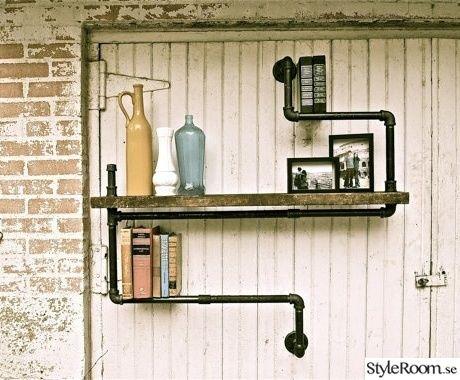 rör,vägghylla,galvad,steampunk